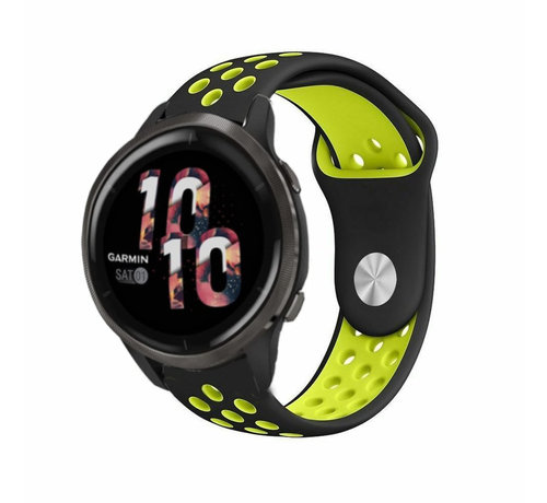 Strap-it® Strap-it® Garmin Venu 2 sport bandje - 45mm - zwart/geel
