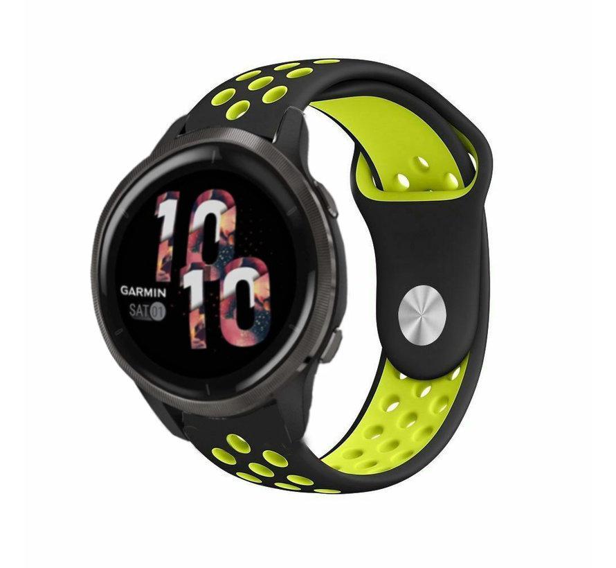 Strap-it® Garmin Venu 2 sport bandje - 45mm - zwart/geel