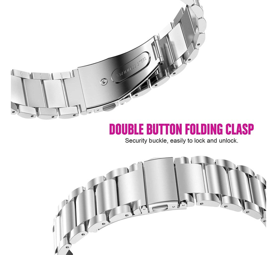 Strap-it® Garmin Venu 2s stalen band - 40mm - zilver