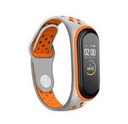 Strap-it® Xiaomi Mi band 6 sport bandje (grijs/oranje)