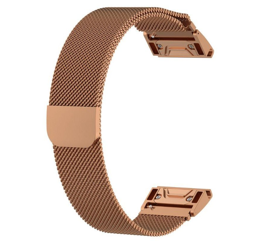 Strap-it® Garmin Fenix 5x / 6x Milanese band (rosé goud)