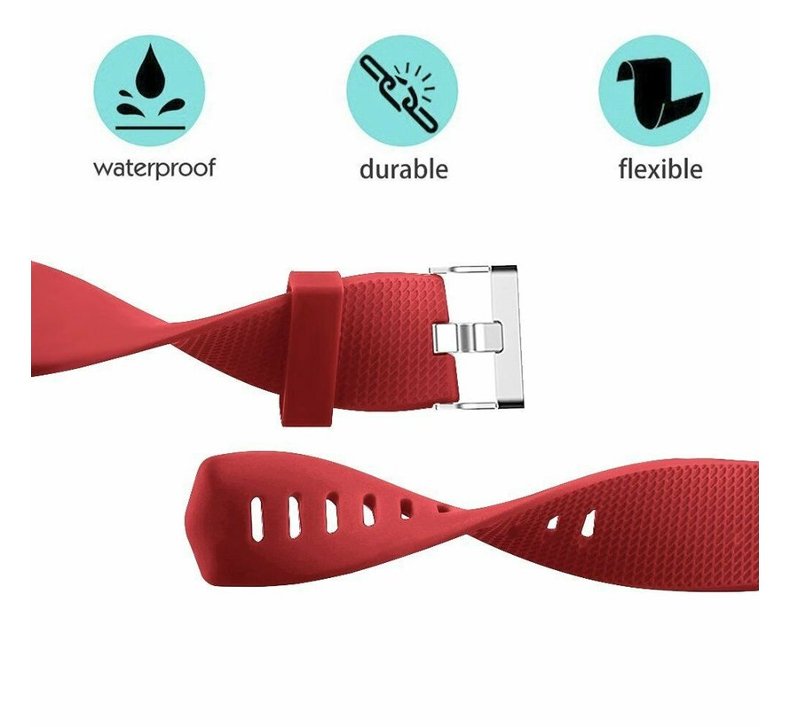 Strap-it® Fitbit Charge 2 siliconen bandje (rood)