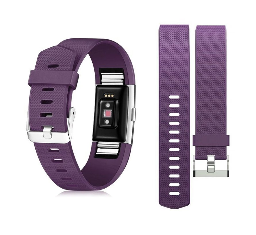 Strap-it® Fitbit Charge 2 siliconen bandje (paars)