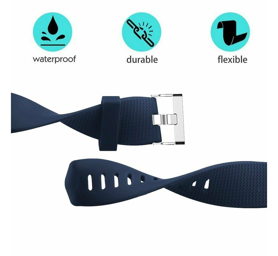Strap-it® Fitbit Charge 2 siliconen bandje (donkerblauw)