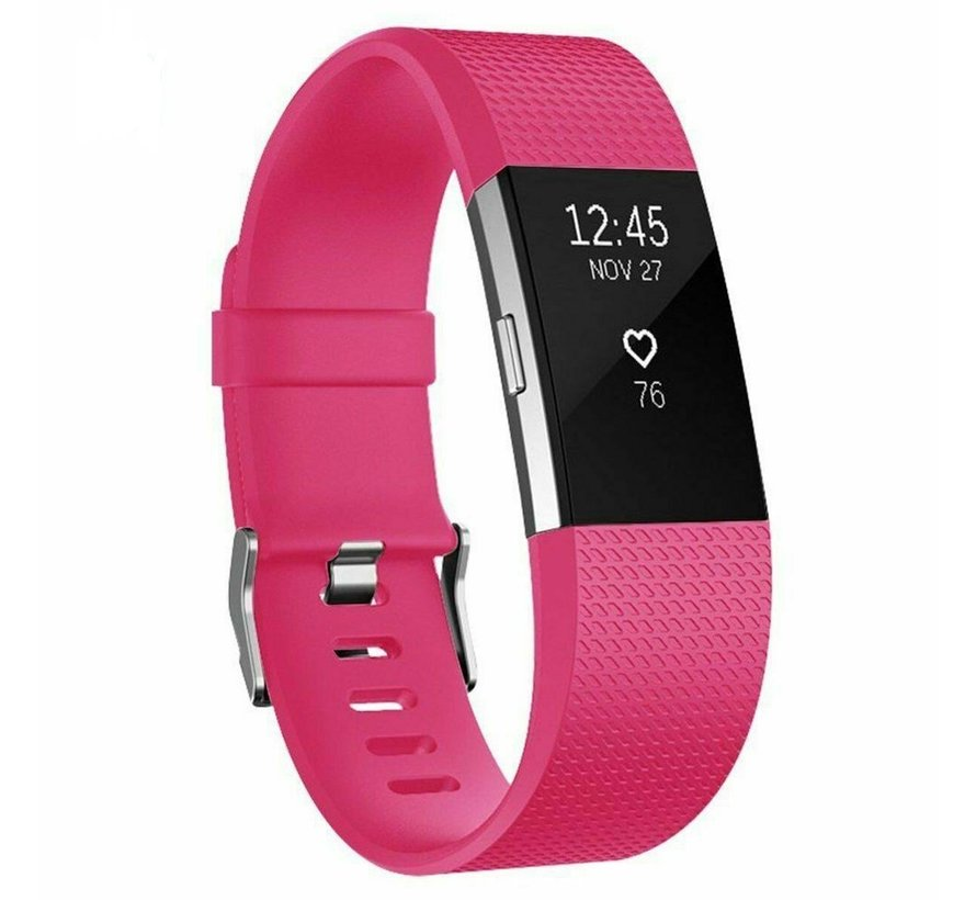 Strap-it® Fitbit Charge 2 siliconen bandje (knalroze)