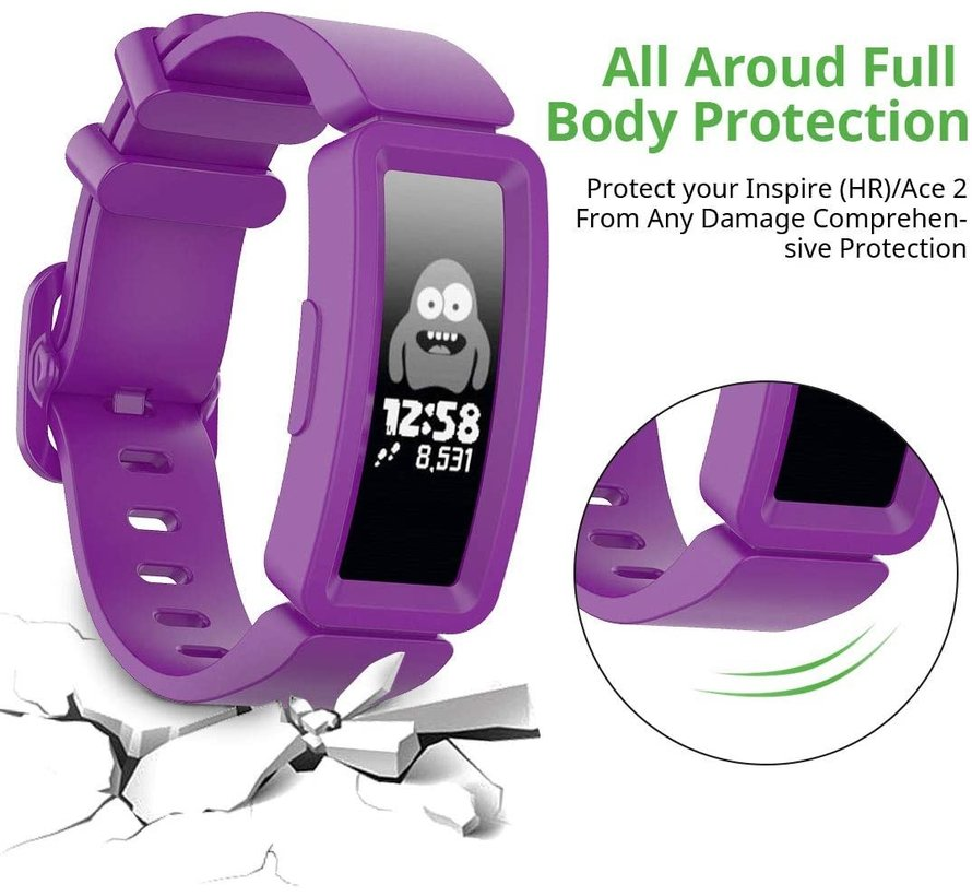 Strap-it® Fitbit Ace 2 siliconen bandje (paars)