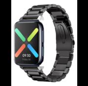 Strap-it® Oppo Watch stalen band (zwart)