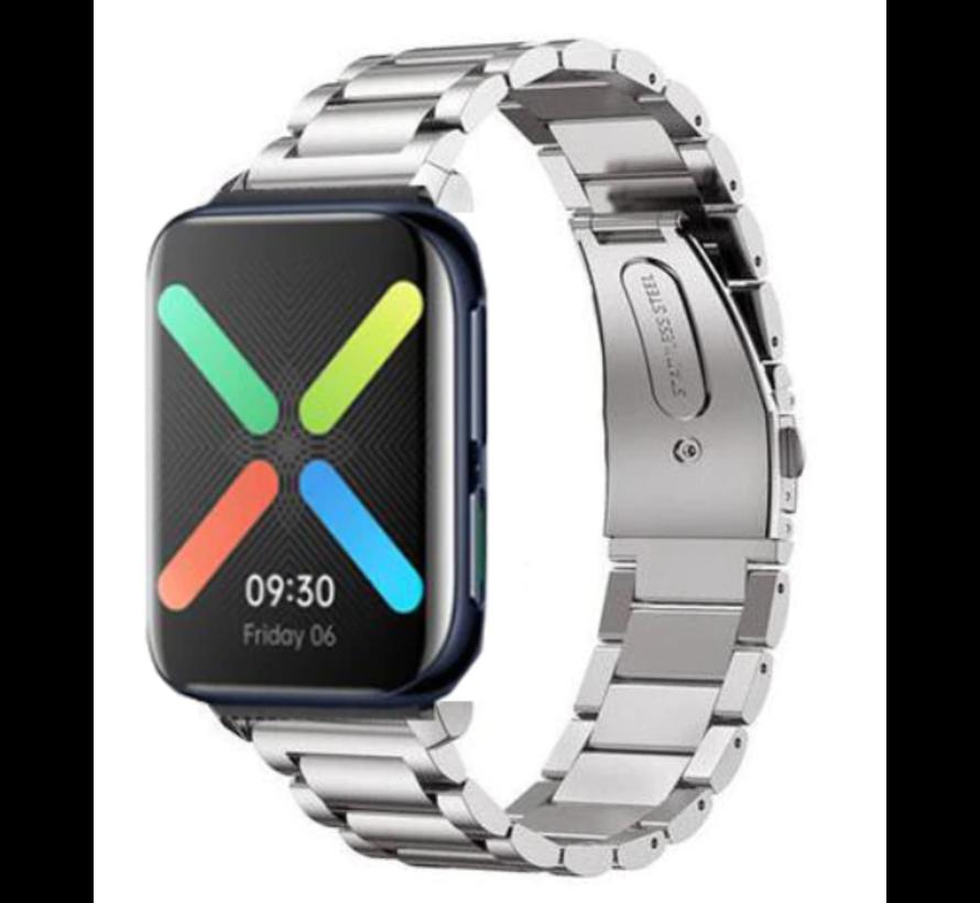 Strap-it® Oppo Watch stalen band (zilver)