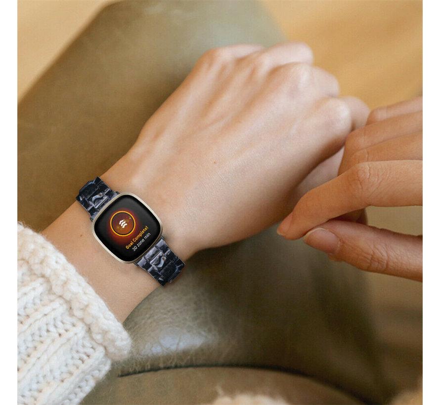 Strap-it® Fitbit Sense resin band (zwart/wit)
