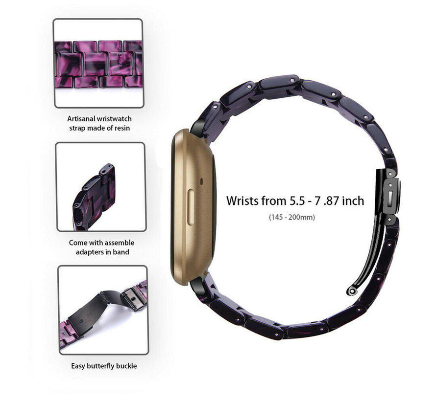 Strap-it® Fitbit Sense resin band (zwart/paars)