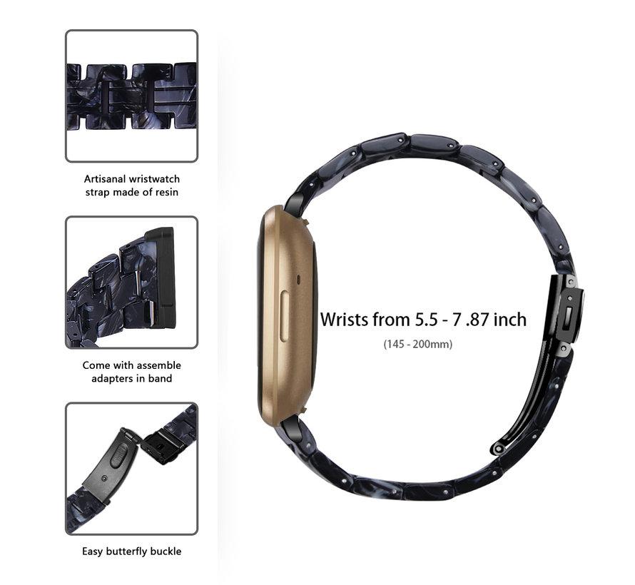 Strap-it® Fitbit Versa 3 resin band (zwart/wit)
