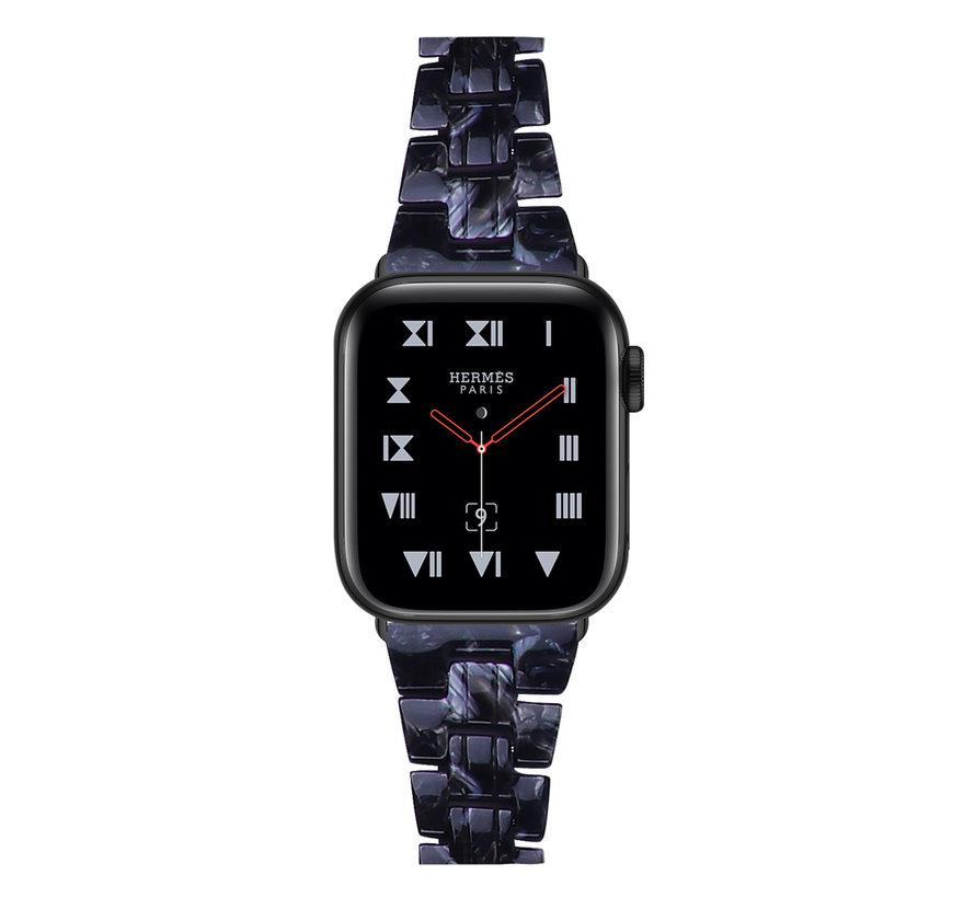 Strap-it® Apple Watch stalen band (zwart/wit)