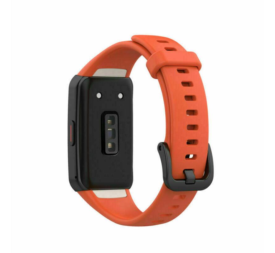 Strap-it® Huawei Band 6 siliconen bandje (donker oranje)