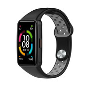 Strap-it® Huawei Band 6 sport bandje (zwart/grijs)