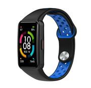 Strap-it® Huawei Band 6 sport bandje (zwart/blauw)