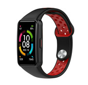 Strap-it® Huawei Band 6 sport bandje (zwart/rood)