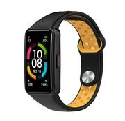 Strap-it® Huawei Band 6 sport bandje (zwart/geel)