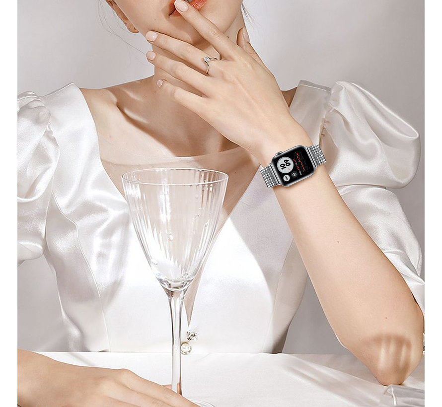 Strap-it® Apple Watch roestvrij stalen band (zilver)
