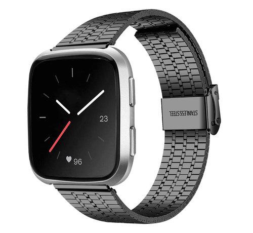 Strap-it® Strap-it® Fitbit Versa roestvrij stalen bandje (zwart)