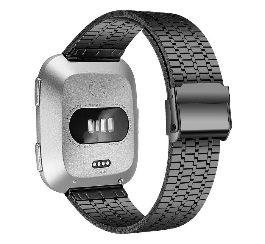Strap-it® Fitbit Versa roestvrij stalen bandje (zwart)