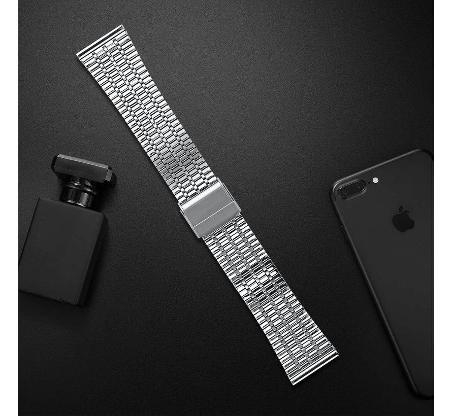 Strap-it® Fitbit Versa roestvrij stalen bandje (zilver)