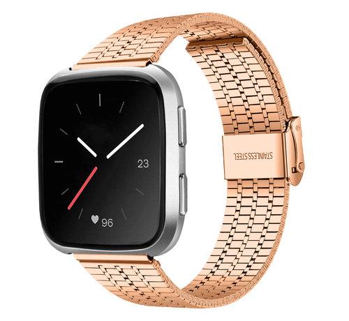 Strap-it® Strap-it® Fitbit Versa roestvrij stalen bandje (rosé goud)