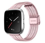 Strap-it® Fitbit Versa roestvrij stalen bandje (rosé pink)