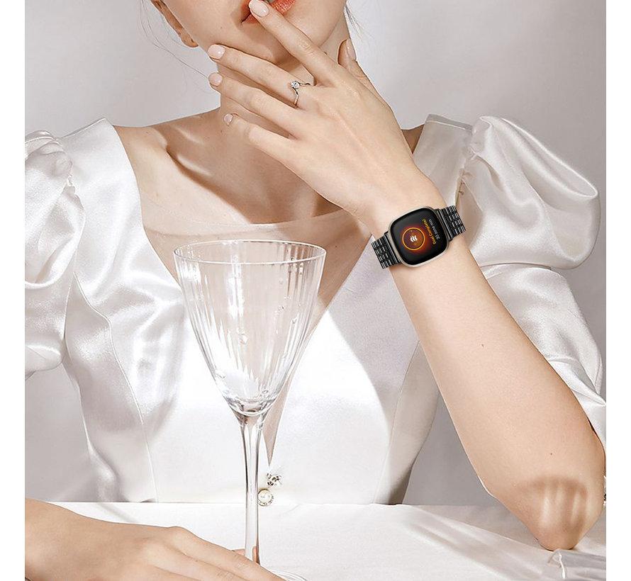Strap-it® Fitbit Versa 3 roestvrij stalen band (zwart)