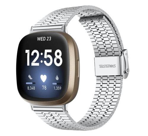 Strap-it® Strap-it® Fitbit Versa 3 roestvrij stalen band (zilver)