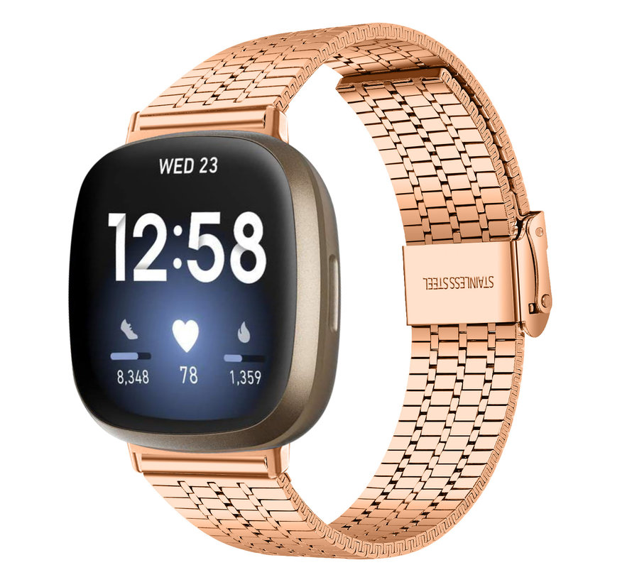 Strap-it® Fitbit Versa 3 roestvrij stalen band (rosé goud)