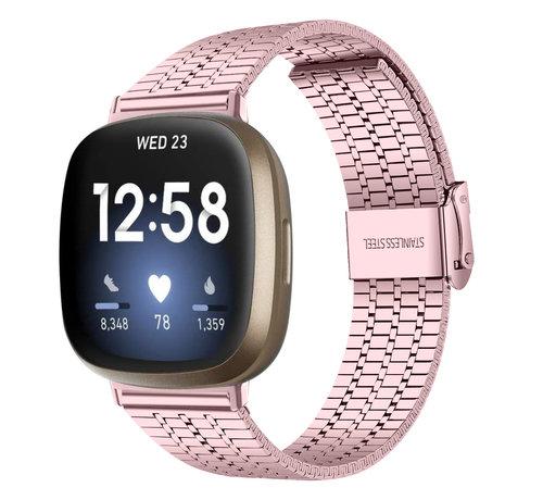 Strap-it® Strap-it® Fitbit Versa 3 roestvrij stalen band (rosé pink)