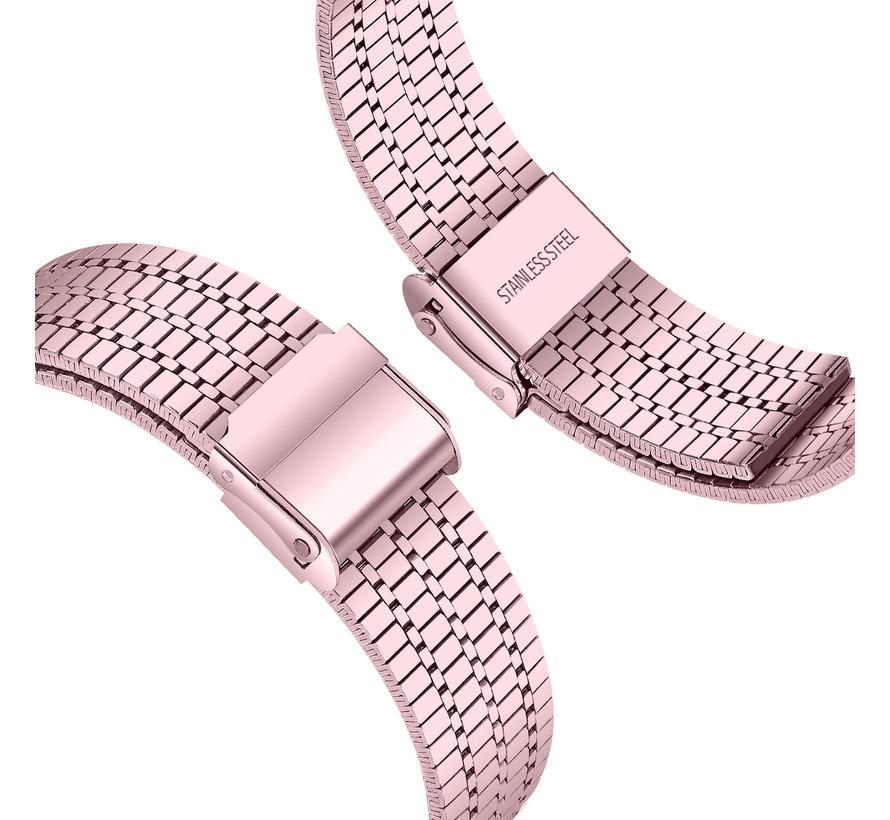 Strap-it® Fitbit Versa 3 roestvrij stalen band (rosé pink)