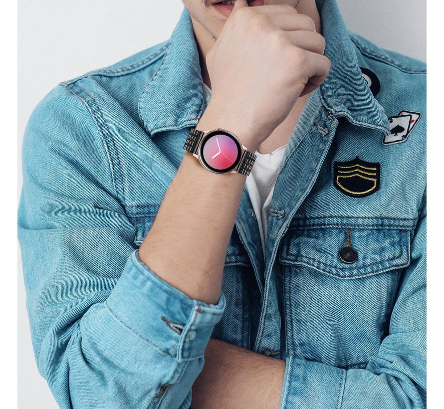 Strap-it® Samsung Galaxy Watch Active roestvrij stalen band (zwart)