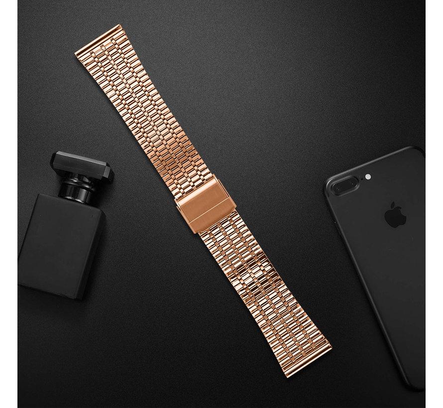 Strap-it® Samsung Galaxy Watch 46mm roestvrij stalen band (rosé goud)