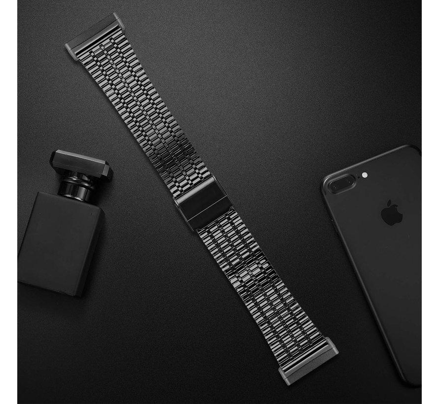 Strap-it® Fitbit Sense roestvrij stalen band (zwart)