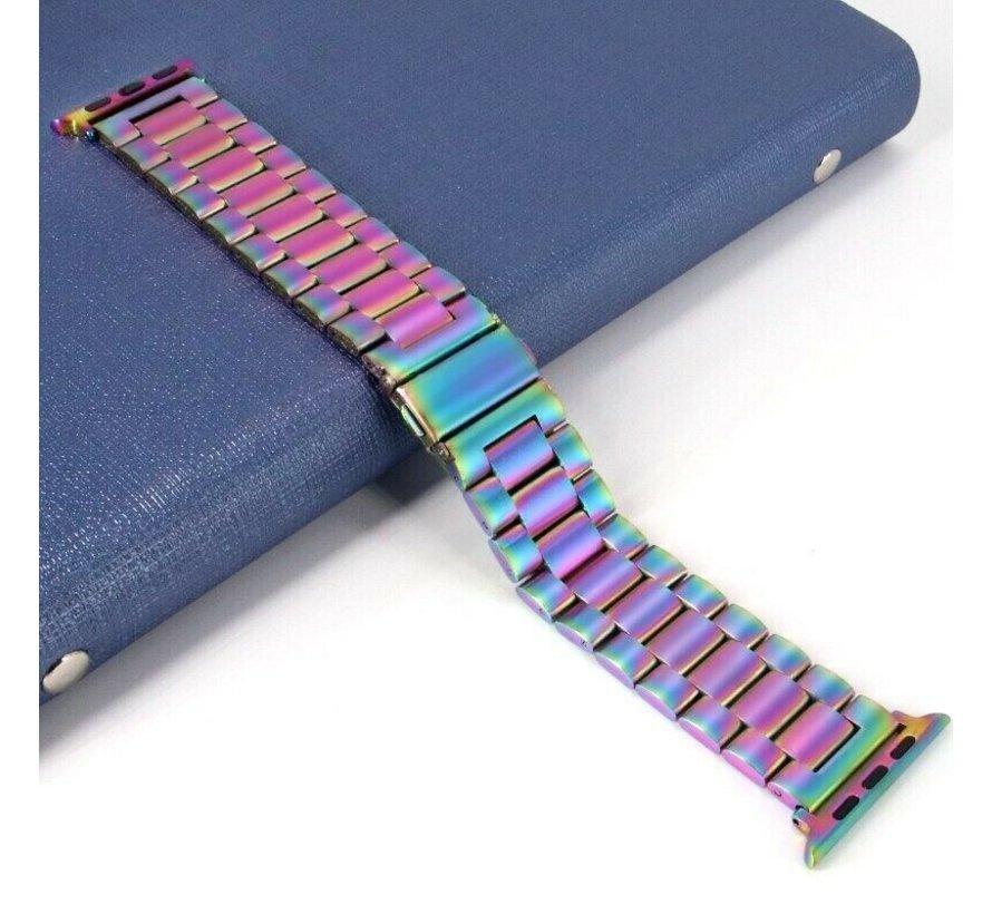Strap-it® Apple Watch stalen band (regenboog)