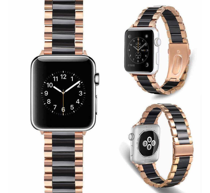 Strap-it® Apple Watch keramiek stalen band (rosé goud/zwart)