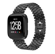 Strap-it® Fitbit Versa stalen vis band (zwart)