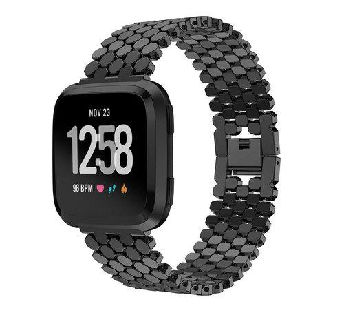 Strap-it® Strap-it® Fitbit Versa stalen vis band (zwart)