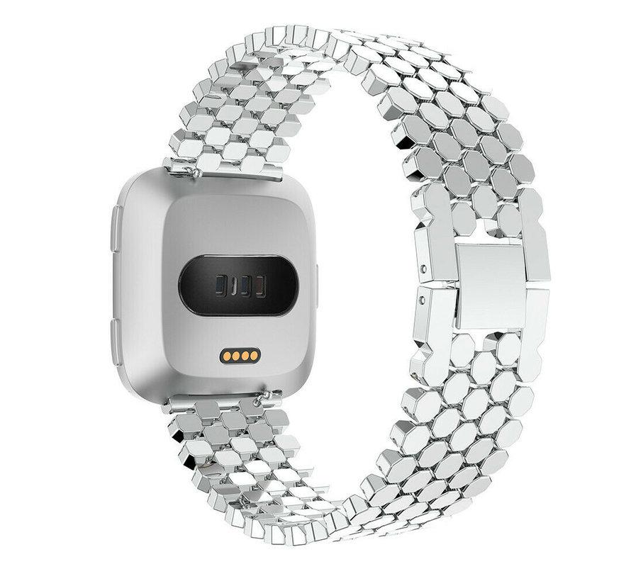 Strap-it® Fitbit Versa stalen vis band (zilver)