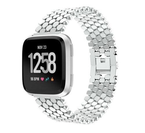 Strap-it® Strap-it® Fitbit Versa stalen vis band (zilver)