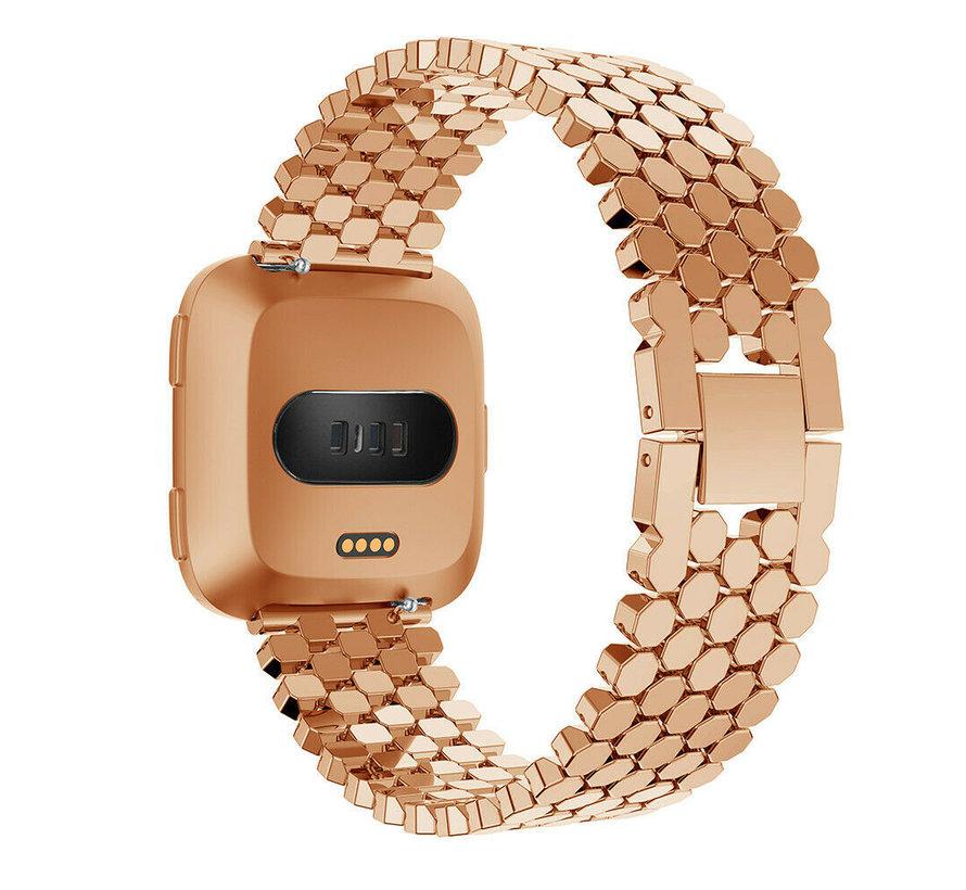 Strap-it® Fitbit Versa stalen vis band (rosé goud)
