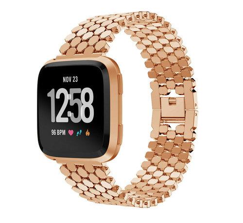 Strap-it® Strap-it® Fitbit Versa stalen vis band (rosé goud)
