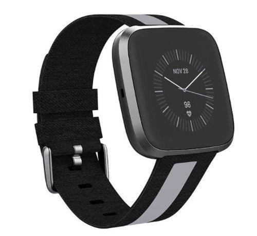 Strap-it® Strap-it® Apple Watch geweven nylon gesp band (zwart/grijs)