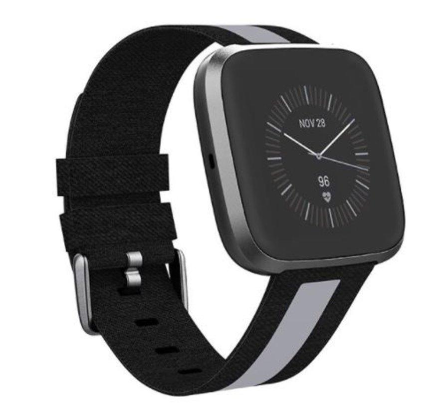 Strap-it® Apple Watch geweven nylon gesp band (zwart/grijs)