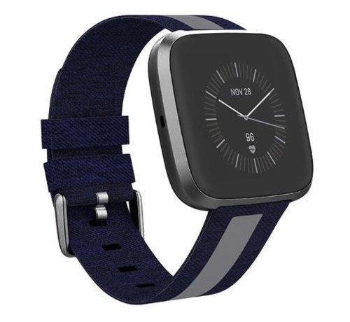 Strap-it® Strap-it® Apple Watch geweven nylon gesp band (blauw/grijs)