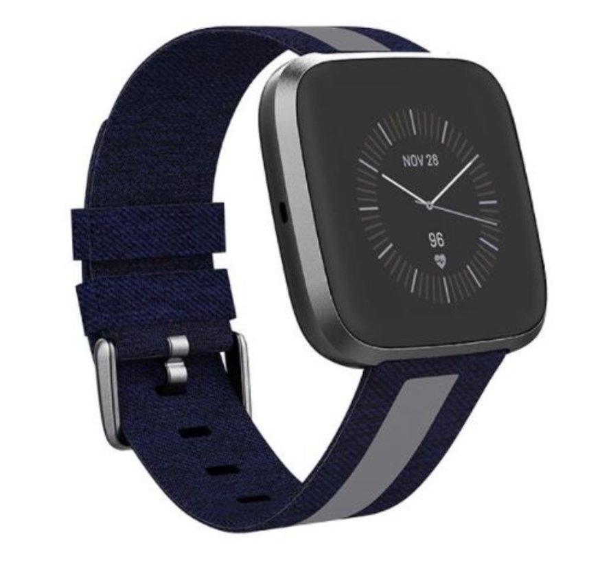 Strap-it® Apple Watch geweven nylon gesp band (blauw/grijs)