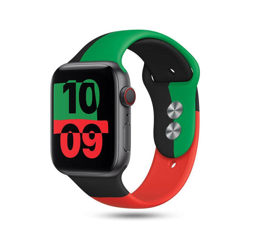 Strap-it® Apple Watch triple sport band (zwart-groen-rood)