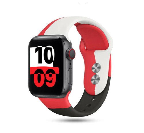 Strap-it® Strap-it® Apple Watch triple sport band (rood-wit-zwart)