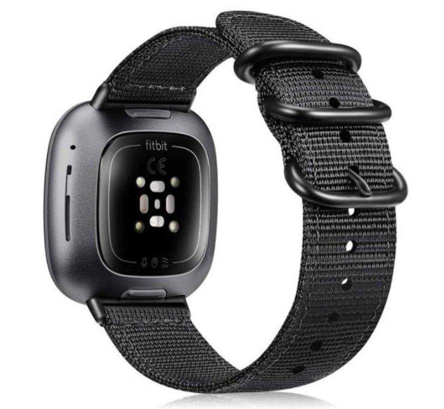 Strap-it® Fitbit Versa 3 nylon gesp band (zwart)